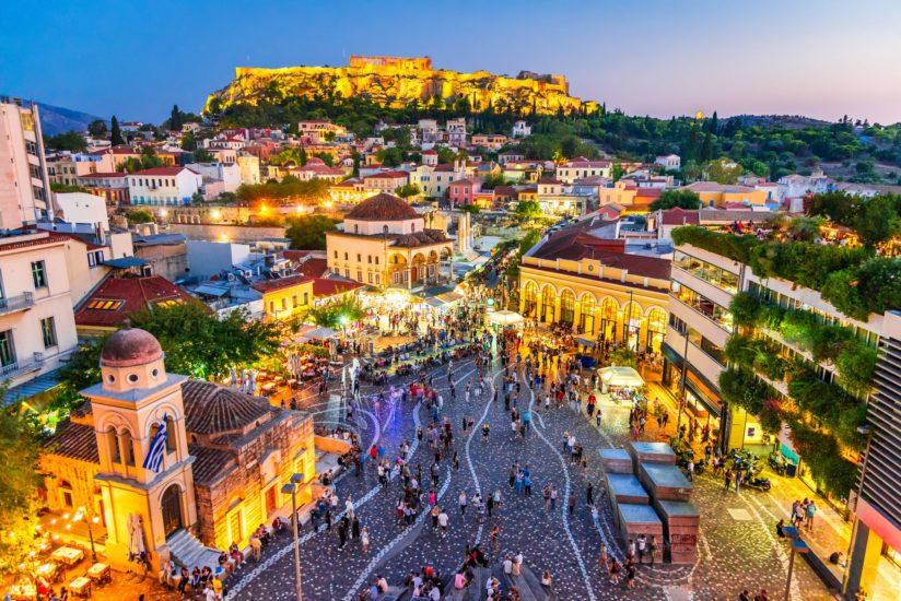 Athens, Greece -  Night Image With Athens From Above, Monastirak